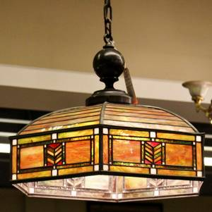 Early 20th American Leaded Glass Hanging Fixture