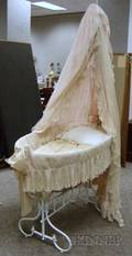 French Whitepainted Cast Iron Babys Bassinet with Mesh Canopy and Skirt