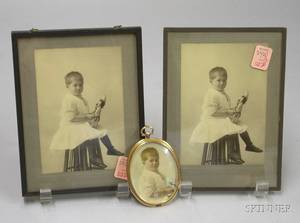 Miniature Enhanced Portrait Photograph of a Child Two Small Framed Portrait Photographs and a Framed Set of F