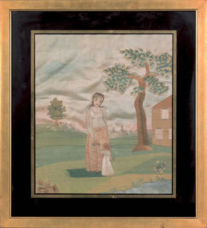 Silk and paint on silk pictorial needlework early 19th c