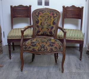 Pair of Italian Carved Walnut Side Chairs and a Louis XV Style Needlepoint Upholstered Carved Beechwood Armchair