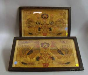 Two Framed Assembled Colored Cut Paper Rooster and Floral Panels
