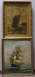 Lot of Two Framed Ship Scenes