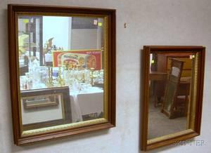 Pair of Victorian Walnut and Partialgilt Framed Mirrors