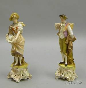 Pair of Sitzendorf Porcelain Figures of a Man and Woman