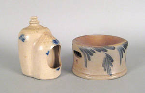 Stoneware bird feeder and a spittoon 19th c