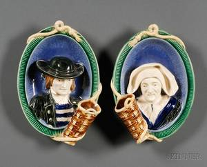 Pair of Majolica Figural Wall Pockets