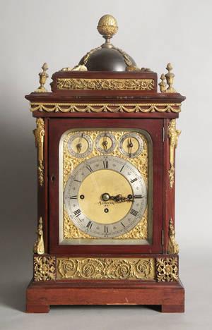 Massive musical bracket clock with a threetrain ninebell movement