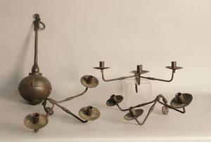 Wrought iron ninearm chandelier with globular base