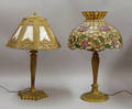 Two Art Glass Table Lamps with Goldpainted Cast Metal Bases