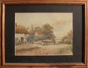 Watercolor landscape signed Frances Kefer