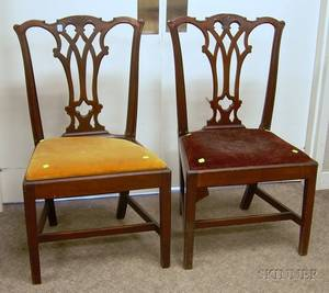 Pair of Chippendalestyle Carved Mahogany Side Chairs with Upholstered Slip Seats