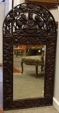 Asian Carved and Reticulated Hardwood Mirror
