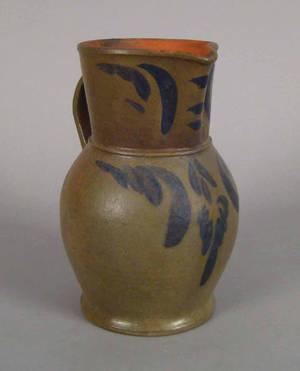 Virginia blue decorated stoneware pitcher 19th c