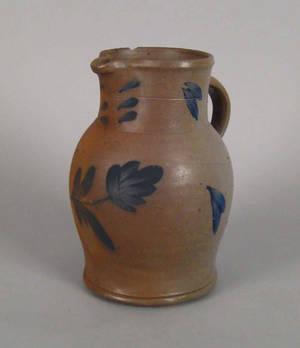 Pennsylvania blue decorated stoneware pitcher 19th c