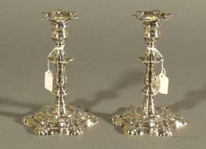 Pair of George IV Weighted Silver Candlesticks