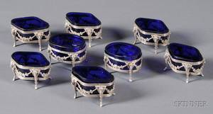 Assembled Set of Eight Neoclassical German 800 Silver and Cobalt Glasslined Salts
