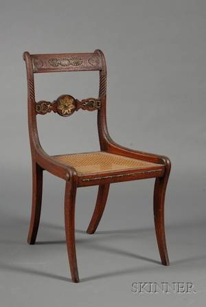 Regency Brassmounted and Caned Side Chair