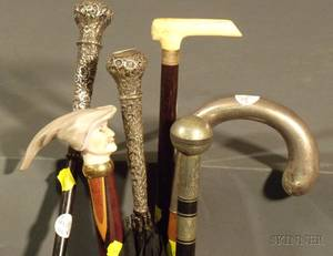 Group of Six Canes Walking Sticks and a Parasol