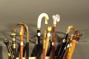 Group of Twelve Canes and Walking Sticks