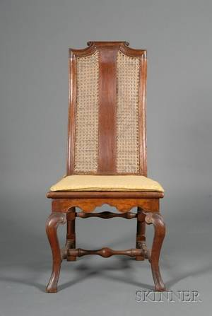 English William  Mary Walnut and Caned Side Chair
