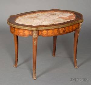 Louis XVXVI Style Fruitwood Marquetryinlaid Tulipwood and Marbletop Table