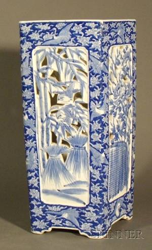 Blue and White Porcelain Umbrella Stand