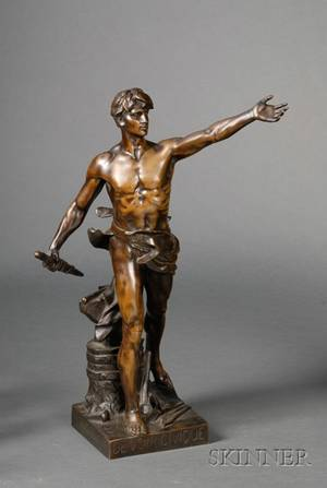 Eugene Marioton French 18541925 Bronze Figure of Civic Duty c 1900