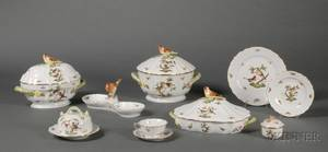 Extensive Herend Porcelain Rothschild Bird Pattern Partial Dinner Service