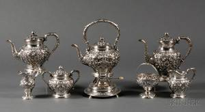 Five Piece S Kirk  Son Sterling Repousse Tea and Coffee Service