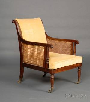 Regency Ebony Stringinlaid Mahogany and Caned Library Chair