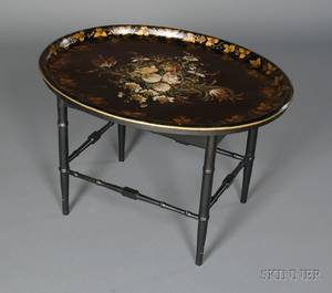 Victorian Painted Tole Tray on Later Stand