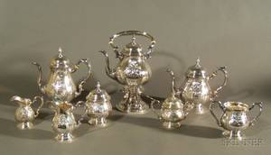 Eight Piece Fisher Handchased Sterling Tea and Coffee Service