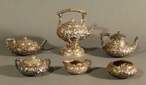 Six Piece Bailey Banks  Biddle Sterling Repousse Tea and Coffee Service