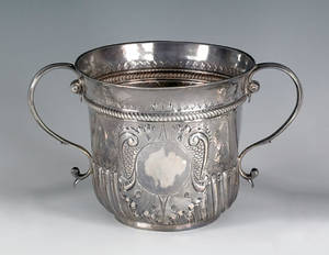 Large English silver caudle cup ca 17051706