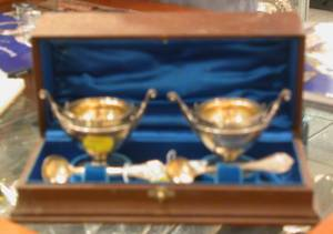 Boxed Pair of Gorham Sterling Open Salts and Spoons