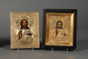Two Russian Icons of Christ with Brass Rizas