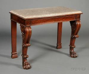William IV Carved Mahogany and Marbletop Side Table