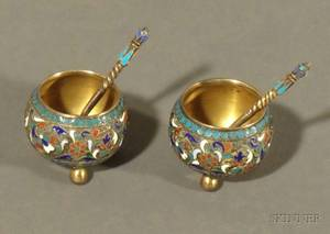 Small Pair of Russian Silver and Enamel Open Salts with Spoons