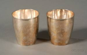 Near Pair of Federal Coin Silver Beakers