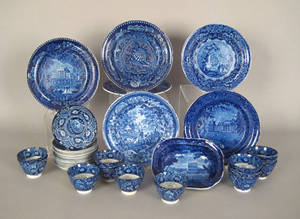Blue Staffordshire transfer tableware with various English scenes 19th c