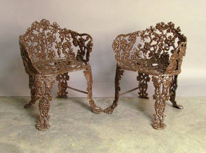 Pair of cast iron garden seats