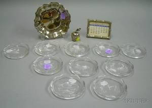 Two Tiffany Sterling Silver Desk Items and a Tiffany Silver Plated Dish