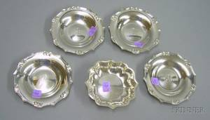 Four Tiffany Sterling Silver Side Plates and a Small Watson Sterling Silver Bowl