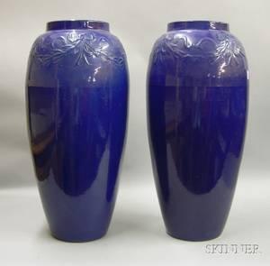 Pair of Art Pottery Cobalt Blue Glazed Floor Vases