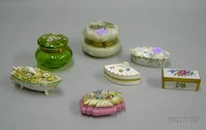 Five Small Decorated Porcelain Trinket Boxes a Wave Crest Handpainted Landscape Decorated Glass Dresser Box