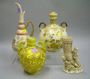 Two Royal Crown Derby Gilt Enamel Decorated Porcelain Vases a Rudohlstadt Ewer and a Rudohlstadt Chinese Ivorystyle Figural Vase