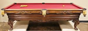 L 20th C Custom Pool Table by Charles A Porter