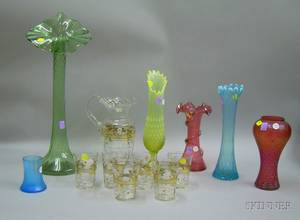 Six Colored Art Glass Vases and a Sevenpiece Victorian Enameled Floral Decorated Colorless Glass Lemonade Set