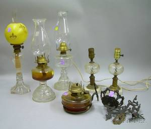 Colorless Sandwich Glass Fluid Lamp and Five Molded Glass Kerosene Lamps